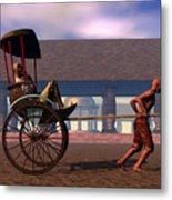 The Tourist And The Runner Metal Print