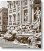 The Trevi Fountain In Sepia Tones Metal Print