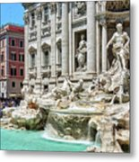 The Trevi Fountain In The City Of Rome Metal Print