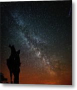 The Trunk Of A Dead Tree, Milky Way And Meteor Metal Print