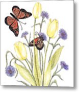 The Tulip And The Butterfly Metal Print