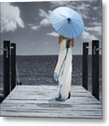 The Turquoise Parasol Metal Print