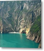 The Turquoise Water At Slieve League Sea Cliffs Donegal Ireland  Metal Print