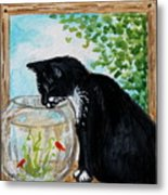 The Tuxedo Cat And The Fish Bowl Metal Print