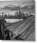 The Twisted Pier Panorama Bw Metal Print