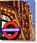 The Underground And Harrods At Night Metal Print