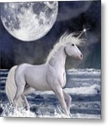 The Unicorn Under The Moon Metal Print