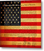 The United States Declaration Of Independence - American Flag - Square Metal Print