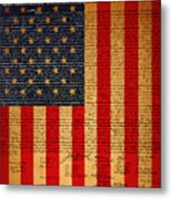 The United States Declaration Of Independence And The American Flag 20130215 Metal Print