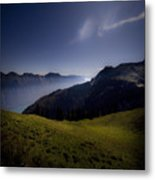 The Valley In The Moonlight Metal Print