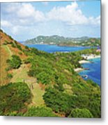 The View From Fort Rodney On Pigeon Island Gros Islet Blue Water Metal Print