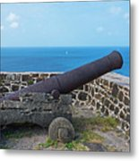The View From Fort Rodney On Pigeon Island Gros Islet Saint Lucia Cannon Metal Print