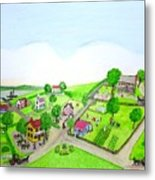The Village - Colonial Style Art Metal Print