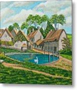 The Village Pond In Wroxton Metal Print