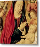The Virgin And Child Adored By Angels  Metal Print by Jean Hey
