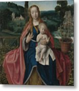 The Virgin And Child In A Landscape Metal Print