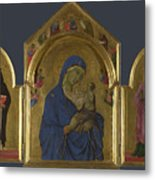 The Virgin And Child With Saints Dominic And Aurea Metal Print