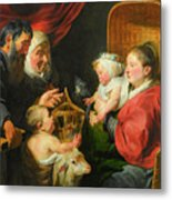 The Virgin And Child With St. John And His Parents Metal Print