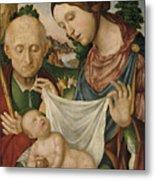 The Virgin And Saint Joseph  Adoring The Christ Child Metal Print