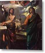 The Virgin Appearing To Saints John The Baptist And John The Evangelist 1520 Metal Print