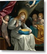 The Virgin Sewing Accompanied By Four Angels. La Couseuse Metal Print
