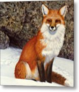 The Wait Red Fox Metal Print