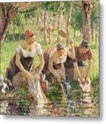 The Washerwomen Metal Print by Camille Pissarro