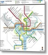 The Washington, D. C. Pubway Map Metal Print