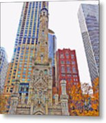 The Water Tower In Autumn Metal Print