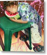 The Watermelon Eater Metal Print by Marguerite Chadwick-Juner