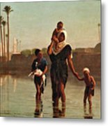 The Way From The Village. Time Of Inundation. Egypt Metal Print