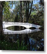 The White Bridge In Magnolia Gardens Charleston Metal Print