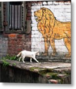 The White Cat Metal Print