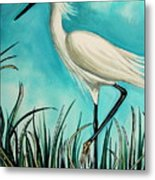 The White Egret Metal Print