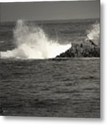 The Wild Pacific In Black And White Metal Print
