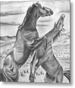 The Wild West Mustangs Metal Print