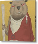 The Wise Beaver Metal Print