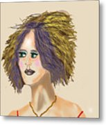 The Woman With Purple Hair Metal Print