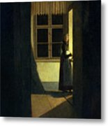 The Woman With The Candlestick Metal Print