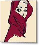 The Woman With The Crimson Veil Metal Print