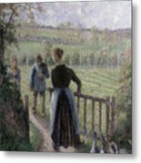 The Woman With The Geese Metal Print by Camille Pissarro