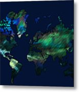 The World In Blues Metal Print