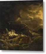 The Wreck Of The H.m.s. Deal Castle Off Puerto Rico During The Great Hurricane Of 1780 Metal Print