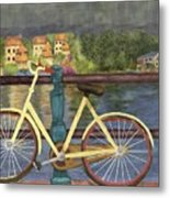 The Yellow Bicycle  Metal Print