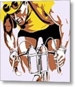 The Yellow Jersey Retro Style Cycling Metal Print