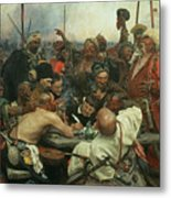 The Zaporozhye Cossacks Writing A Letter To The Turkish Sultan Metal Print