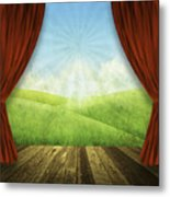 Theater Stage With Red Curtains And Nature Background  Metal Print