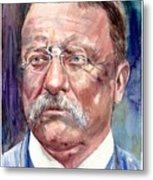 Theodore Roosevelt Watercolor Portrait Metal Print