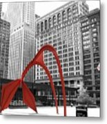 There's A Red Flamingo In Chicago Metal Print