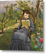 Therese Reading In The Park Of Meric Metal Print